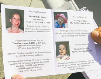 The program from the Gibson family funeral featured pictures of Lisa Gibson and her children, Anna and Nicholas.
