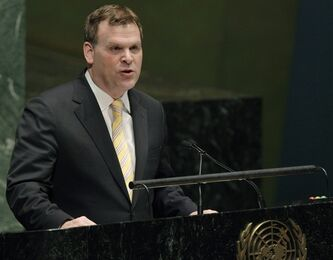 Canadian Foreign Minister John Baird speaks in opposition of upgrading the Palestinian Authority's status to non-member observer state in the United Nations in New York, on Nov. 29, 2012. THE CANADIAN PRESS/AP, Kathy Willens