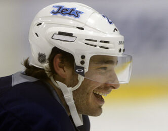 Injured Jets defenceman  Zach Redmond returns after recovering from a major injury he received during practice that severed a leg artery in the right thigh. He was back at practice today.