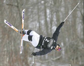 Canada's Alex Bilodeau was on his game during the men's moguls final at a Wednesday's World Cup event.