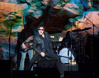 "This undated photo provided by Sally J. Irwin shows Jimi Jamison performing at the Mohegan Sun Hotel and Casino in Uncasville, Conn. Jamison, who sang lead on Survivor hits such as ""Burning Heart"" and ""Is This Love,"" has died. He was 63.(AP Photo/Sally J. Irwin, Brax Irwin)"