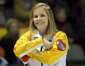 Manitoba skip Jennifer Jones smiles during a break in her match against New Brunswick in draw sixteen curling action at the Scotties Tournament of Hearts Friday, February 22, 2013 in Kingston, Ont.