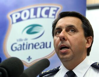 Gatineau Police Chief Mario Harel holds a news conference in Gatineau, Que., Monday, April, 8, 2013. to release details of the investigation into a shooting where two men were found dead at a daycare centre last week in Gatineau. THE CANADIAN PRESS/Fred Chartrand