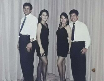 <p>SUPPLIED</p><p>Gloria Ongasco De Paz-Hryniuk is pictured circa 1992 with her band members prior to a gig in Dubai. </p>