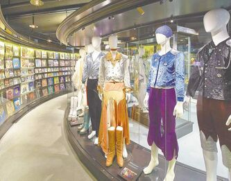 Check out ABBA's colourful outfits and album covers in the Gold Room at the new ABBA the Museum in Stockholm, Sweden.