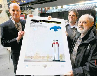 The Forks COO Paul Jordan (from left), architect Peter Hargraves and Etienne Gaboury. The drawings are for Gaboury's winning design.