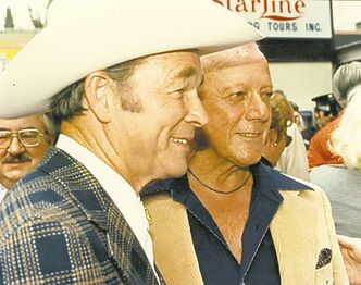 Roy Rogers and Bob Nolan, 1976, on the unveiling of the star for The Sons Of The Pioneers on Hollywood Boulevard. Bottom left: Brian Levi Bergquist at the Bringing Bob Nolan Home ceremony, Fort Garry Hotel, October 2012.