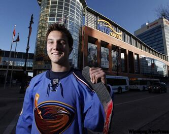 Atlanta Thrashers draft pick Peter Stoykewych stands outside the MTS Centre Wednesday.