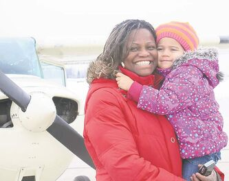 Three-year-old Cali — a potential pilot — took her first flight ever with her mom Susan Lachance, and had nothing but fun.