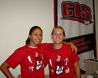 Serafina Trunzo (left) and Sheri Hince are ready for the new challenge facing the Wesmen women's soccer team as it joins CIS this season.
