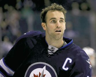 Winnipeg Jets' Andrew Ladd (16) during warmup as the Jets prepare to face the Philadelphia Flyers at MTS Centre in Winnipeg, Saturday, April 6, 2013. (TREVOR HAGAN/WINNIPEG FREE PRESS) closecut close cut