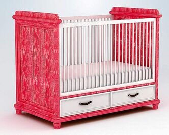 Ducduc's Georgian-style crib is made of hardwood and comes with built-in storage. It can be customized in dozens of wood finishes and paint colours.