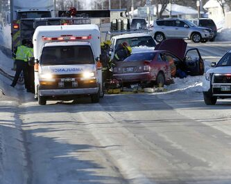 A crash on Ness Avenue at Linwood Street sent the driver of a car to hospital Wednesday after being rescued by emergency workers. The icy conditions have led to many collisions over the past week.