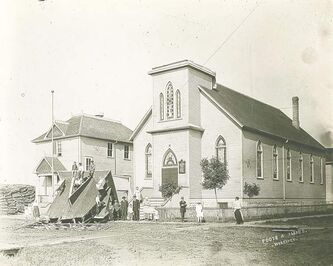 The Evangelical Lutheran (German) church on the southwest corner of College and McKenzie lost its cupola and steeple in a windstorm in 1919. Germans have a long and considerable architectural footprint in Manitoba.