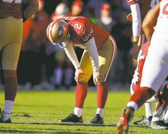 San Francisco 49ers' David Akers can't believe he just gassed another field goal.