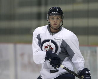 Josh Morrissey at Winnipeg Jets Rookie Camp at the MTS Iceplex on September 03, 2013.