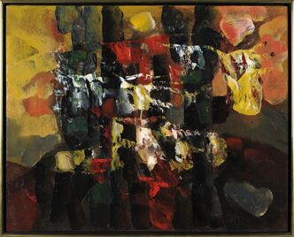 """La Cath�dral enguirland�e"", 1951, oil on canvas, by renowned Quebec painter Paul-Emile Borduas is shown in a handout photo. It is among 20 valuable pieces of art the Department of Foreign Affairs has designated for sale. THE CANADIAN PRESS/HO-Department of Foreign Affairs and International Trade Canada"