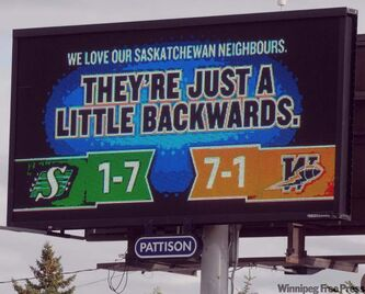 This message comes up every minute or so at an electronic billboard at Albert Street and 15th Avenue in Regina.