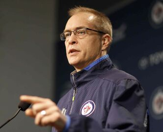 Winnipeg Jets' head coach Paul Maurice speaks to the media on locker cleanup day at MTS Centre in Winnipeg Sunday.