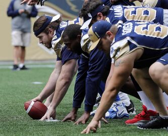 Bombers centre Steve Morley snaps the ball with his team during Wednesday's practice in preparation for the team's home game Thursday. Morley returns to the offence after being injured and will be back in the lineup against the Toronto Argonauts.