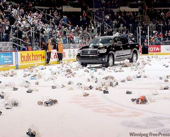 The Teddy Bear Toss is a Manitoba Moose Yearling Foundation fundraiser.