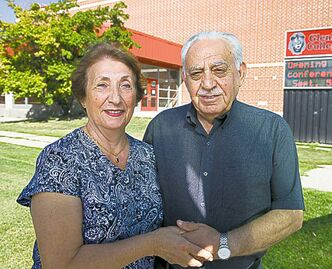 Laila and Farouk Chebib outside Glenlawn Collegiate.