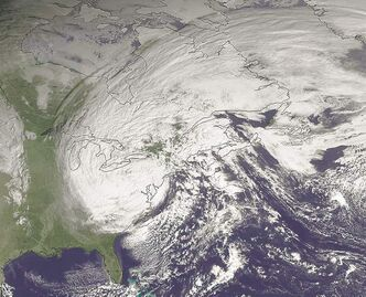 Satellite image from Oct. 30 shows superstorm Sandy slowly moving westward while weakening across southern Pennsylvania.