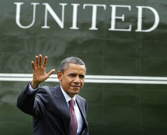 President Barack Obama waves as he arrives at the White House in Washington from a trip in Richmond, Va., Friday, Sept. 9, 2011. The President had traveled to Richmond to pitch his newly unveiled jobs plan.(AP Photo/Manuel Balce Ceneta)