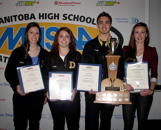 Dakota Collegiate athletes Natasha Esquivel (from left), Krista Stuhldreier, Scott Rowswell and Samantha Halvorsen show off their awards.