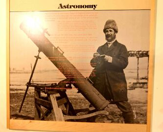 A Percy Criddle exhibit at the Sipiweske Museum in Wawanesa shows Criddle with his telescope.