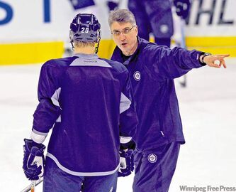 Jets coach Claude Noel, seen giving instructions to the newest Jet, Antti Miettinen
