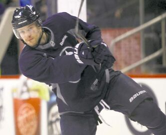 Jets rookie defenceman Paul Postma works out Friday. Paired with Mark Stuart against Carolina on Thursday, he played 15 minutes and potted his fourth goal.