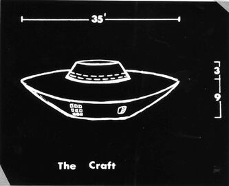 An artist's rendering of an object seen in 1967 near Falcon Lake by a man who alleged he was burned by it when he approached.