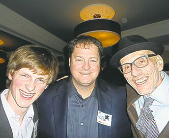 Prairie 360's Noel Bernier (centre) with son Liam (left) and 92 CITI FM's Howard Mandshein.