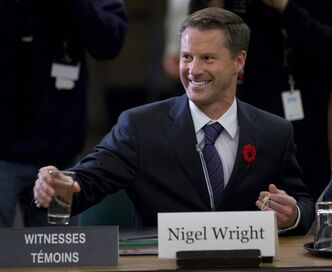 Nigel Wright, chief of staff for Prime Minister Stephen Harper, appears as a witness at the Standing Committee on Access to Information, Privacy and Ethics on Parliament Hill in Ottawa, Tuesday, Nov.2, 2010. Pointed questions are beginning to swirl around Nigel Wright, Prime Minister Stephen Harper's chief of staff, and whether he used his position to further the financial interests of friends at Barrick Gold Corp. THE CANADIAN PRESS/Adrian Wyld