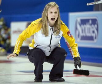 Manitoba skip Jennifer Jones reacts to her shot during tenth draw curling action against Team Canada at the Scotties Tournament of Hearts.