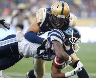 Canadian linebacker/DB Graig Newman (3) is probably out for the season with a dislocated and fractured ankle.