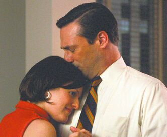 Peggy (Elisabeth Moss) and Don (Jon Hamm) make peace late in the second-last episode before Mad Men's mid-season break.