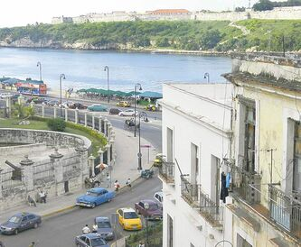 A view of Old Havana and the river from the rooftop of Hotel Santa Isabel on Plaza de Armas.