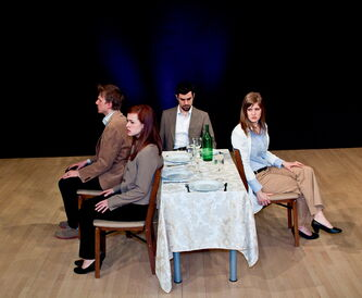 The cast of Forgiven/Forgotten is shown during a recent production.