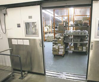 Inside the huge freezer  at the Regional  Distribution Facility at 345 De Baets St.