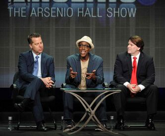 From left, executive producer Neal Kendall, host/executive producer Arsenio Hall and executive producer John Ferriter participate in the
