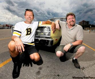 Lorne Lautens (left) and Bill Hughes with Lautens' long-lost (now found) love, a 1969 Dodge Dart Swinger.