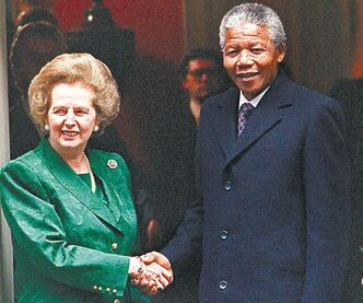 British PM Margaret Thatcher meets newly freed Nelson Mandela in 1990.