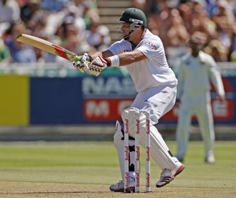 South African cricketer Jacques Kallis, plays a shot during the third test match against Sri Lanka held in Cape Town, South Africa, Tuesday, Jan 3, 2012. (AP Photo/Schalk van Zuydam)