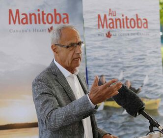 Forks North Portage Corp. CEO Jim August speaks at a Thursday news conference announcing plans to renovate Travel Manitoba's visitor centre at the Forks.