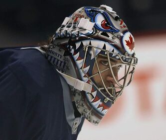 Winnipeg Jets goaltender Al Montoya during looks on during Wednesday's optional practice at the MTS Centre. The Jets are preparing for their final game of the regular season against the Montreal Canadiens.