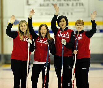 From left: Jennifer Jones, Kaitlyn Lawes, Jill Officer and Dawn McEwen have a full schedule as they prep for the Olympics in Sochi next month.