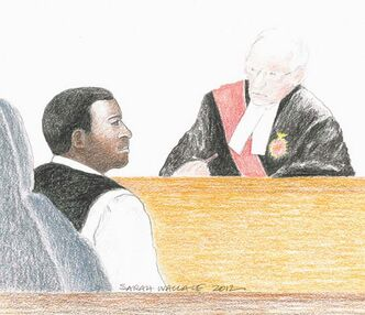 Jacques Mungwarere and Justice Charbonneau  in an Ottawa courtroom May 2012.  .