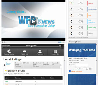 The main page of winnipegfreepress.com will transform at around 7 p.m. as we cover the federal election live from the News Cafe. We will have live video, live chat, dynamic, real-time results, and all of the stories from Manitoba and across Canada as they happen. Join us at the Cafe at 237 McDermot Ave. or online to interact.